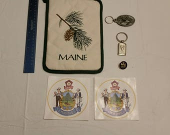 state of maine collection - keyrings moose & lobster - dirigo hat / lapel pin - pot holder pinetree tassel and auto car decals keychains me
