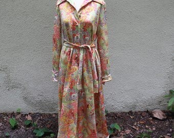 70's Yellow and Coral Long sleeve Maxi Dress -L
