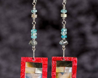 Shell and coral inlay rectangle long earrings with apatite and sterling silver
