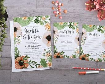 Wedding Invitation | Floral Wreath Wedding Suite | Floral Wedding | Flowers Wedding | Flowers | Printable | Custom