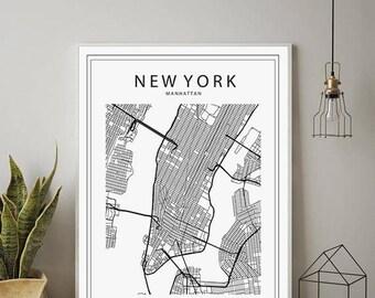 New York Print, NYC Map, Manhattan Map Poster, Manhattan, NY Map, NYC, New York Map Black and White, New York Map Print, New York