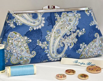 Clutch Bag - Purse - Hand Bag - Accessory Bag - Toiletry Bag - Handmade bag featuring gorgeous cotton paisley fabric with metallic accents