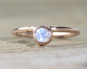 14K Moonstone Stacking Ring, Moonstone Engagement Ring, Solitaire Ring, Little Moonstone Ring, Rose Gold Alternative Engagement Ring