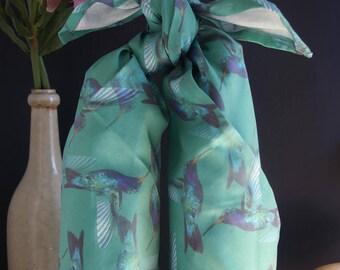"Large Furoshiki ""Hummingbird"" organic cotton sateen - 90 x 90 cm"