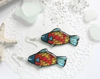 Goldfish earrings Resin jewelry for girlfriend gift Candy fish earrings Japanese koi fish jewelry Red earrings Ocean jewelry best friends