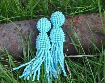 Long turquoise beaded tassel clips,Oscar de la Rentа earrings,long beaded tassels,SILVER stud 925 beaded earrings,beaded tassel earrings