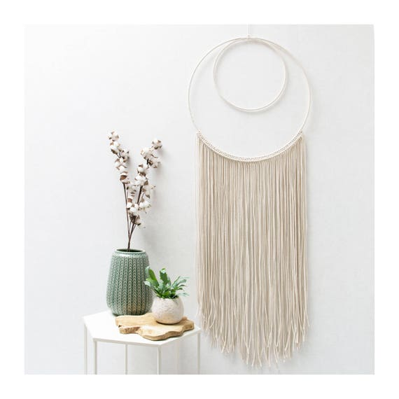 "Large Macrame Wall Hanging - Macrame Curtains - Macrame Wall Art - Macrame Patterns - Wall Tapestry - Dip-dye Tapestry - Home Decor - ""VERA"""