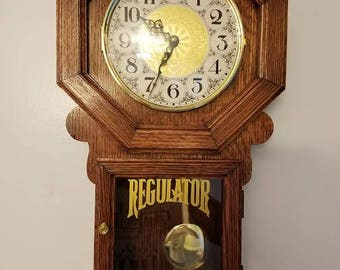 Handmade Quarter sawn Red Oak Regulator Style Wall Clock