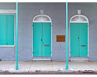 New Orleans photography, French Quarter, NOLA architecture, travel photography, New Orleans home decor, teal doors, door photography, 11x14