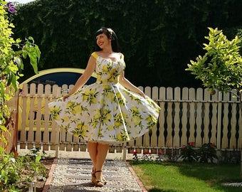 Pinup dress 'Mila dress in Fresh Lemons' rockabilly vintage style dress