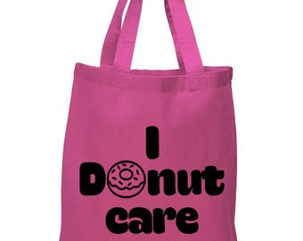 I Donut Care, Donut, Food, Canvas Tote Bag in 7 Colors, Handbag, Purse