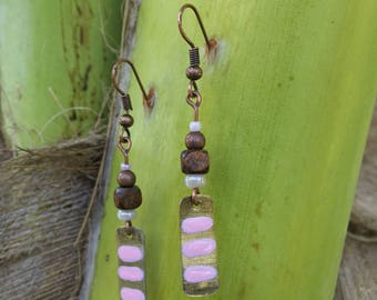 Metal Tab Earrings Mixed Metal Wood and Bead With Pink Accents