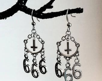 SIX SIX SIX Satanic Inverted Cross 666 Antiqued Silver Gothic Occult Esoteric Lucifer Witchy Earrings