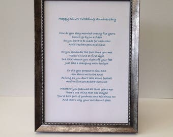 Personalized anniversary print, Husband, wife, mum and dad anniversary gift, Bespoke poem on scroll or matching copper, silver, gold frame