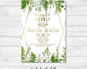Brunch & Bubbly Invitation, Green Bridal Shower Invitation, Green Floral Invite *DIGITAL FILE*