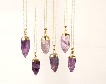 Amethyst Point Necklace Crystal Point Pendulum Necklace Purple Crystal Necklace Stone Necklace raw Crystal Layered Necklace gift teen Bullet