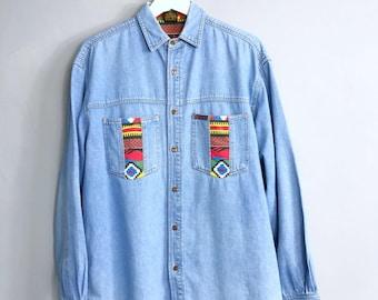MONTANA ORIGINAL • Jeans shirt • S • Denim • Vintage Jeans • Colorful patterns
