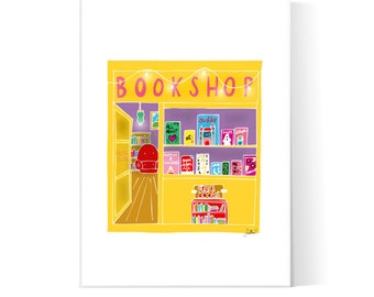 Bookshop Illustration / Books Poster / Bookstore Print / Reading Art / Printable Poster / Instant Download / 2JPEG Files
