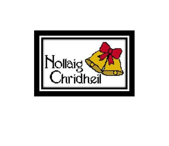 scottish gaelic cross stitch pattern nollaig chridheil meaning merry christmas design download pdf pattern only instant download - Merry Christmas In Gaelic