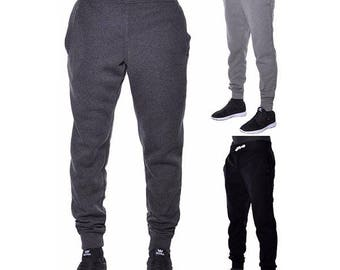 Mens Joggers Pants Active Basic Urban Harem Slim Fit Elastic Fleece