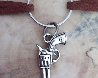 Gun charm choker / leather choker necklace / suede choker necklace