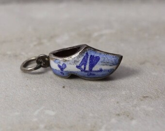 1960s Dutch Wooden Shoe charm, Sterling Silver with blue and white enamel, Vintage wooden shoe, estate jewelry, Travel charm, Netherlands
