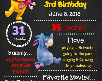 Winnie The Pooh Birthday Chalkboard Poster - Tiger Eeyore Wall Art design - Birthday Poster Sign - Any Age