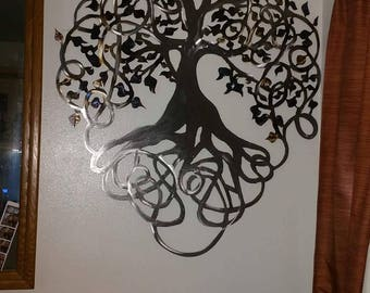 Large Metal Tree Of Life Wall Hanging ETSY Handmade Custom Design Plasma  Cut Tree Torched Metal Part 93