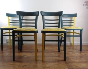 Set of Four Kitchen Chairs, Retro Kitchen Chairs, Vintage Seating, Bistro Chairs,