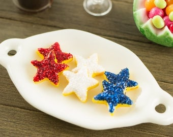 Red, White and Blue Star Cookies - 1:12 Dollhouse Miniature