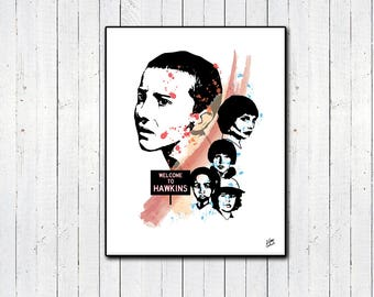 Stranger Things Print, Eleven, Will Byers, Mileven, Millie Bobby Brown, Finn Wolfhard, The Upside Down, Welcome to Hawkins, Christmas Gifts