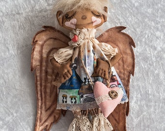 Unique Gift Interior Rag Doll, Hanging Angel Golden Wings, Primitive Textile Doll, Hand-painted on Cloth, Toy Home decor, Housewarming Gift