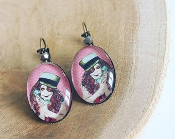 """Earrings Cabochon glass """"GirlFriend"""""""