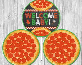 Pizza Party Baby Shower Welcome Baby Centerpiece - Baby Shower Centerpiece - Couples Baby Shower - Pizza Party Shower Favors