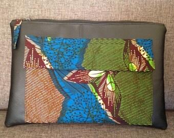 African Print/chitenge/dutch wax/ankara/ and faux leather purse clutch bag.