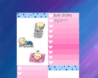 Otterly Adorable Snooze, Sleepy, and Burrito Otter Planner Stickers (O07)