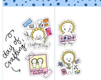 Mini-- Crafting| Craft Day| Scrapbook Day| Memory Keeping| Crafting Planning Planner Stickers (M23)