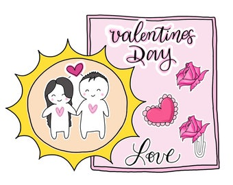 Valentine's Day| Love| Couples| Couples Valentines Date| Love Adorable Human Beans Valentines Planner Stickers (BA03)