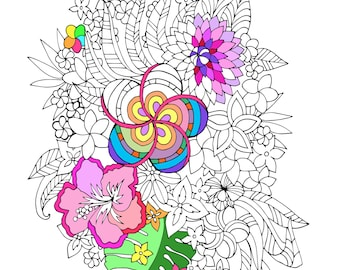 Printable Tropical Flowers Coloring Page