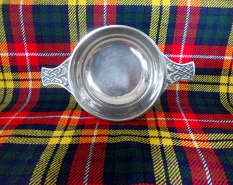 Vintage Scottish Quaich, Friendship Cup Celtic Knotwork Scotch Whisky Drinking Cup Scots Heritage Gift Wedding Groomsman Best Man Gift c1980