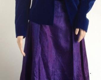 Vintage ANNIE GOUGH navy purple velvet braid dress & jacket UK 12/14 prom party