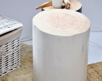 EMMA white tree trunk coffee table, side table wood log stool, end table, tree stump table, bedside table, coffee table