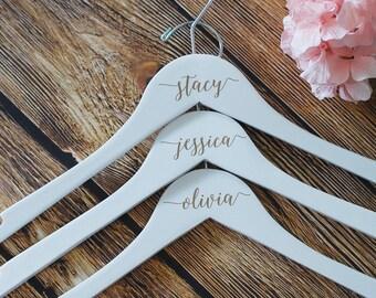 Personalized Dress Hanger,White Wedding Dress Hanger, Bridesmaid Hangers, Bridal Party Hangers, Wooden Hangers, Custom Bridesmaid Hangers
