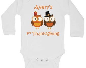 Personalized Owl Pilgrim Onesie, Girl Fall Onesie, Boy Fall Onesie, Baby Fall Outfit, Baby First Thanksgiving Outfit, Pumpkin Patch Outfit