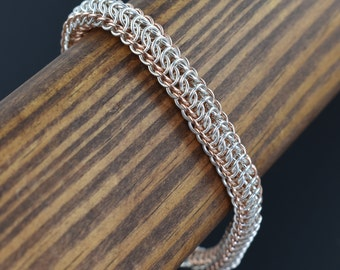 Dragonspine Sterling Silver & 14kt Rose Gold fill Chainmail Bracelet