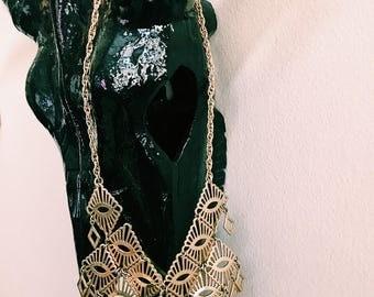 Vintage Gold Geometric Cascading Necklace / Gold Diamond + Triangle-Shape Bib Necklace