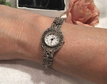 Beautiful Vintage Solid Sterling SILVER and MARCASITE-Round Faced Bracelet Wrist WATCH-Roman Numerals Mark the Hours-Weighs 31.02 grams