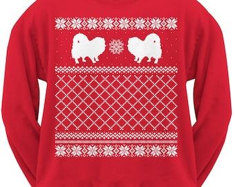 Pomeranian Adult Ugly Christmas Sweater Crew Neck Sweatshirt