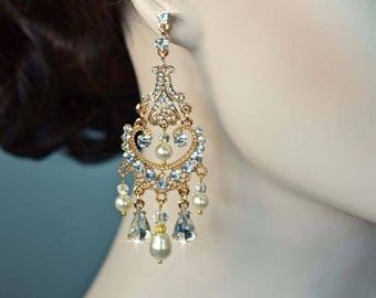 Dramatic Vintage Inspired Crystal Rhinestone and Pearl Yellow Gold Chandelier Earrings, Bridal, Wedding (Pearl-828)