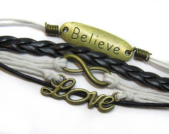 Multilayer Braided Leather Handmade Bracelet | Love Infinity Bracelets | Bronze Charmed Bracelet | Rope and Bronze Bracelet | Harry Potter